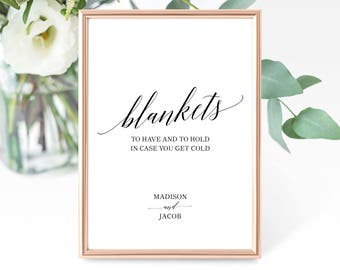 Wedding Blanket Sign Template, Printable Take a Blanket Sign, To Have and to Hold In Case You Get Cold Sign, PDF Instant Download, MM07-1B
