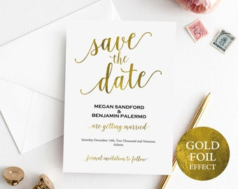 Faux Gold Save the Date Template, Wedding Save the Date Card, Printable Save the Date, Editable Save the Date, PDF Instant Download, MM01-3