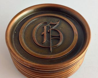 """Vintage Monogrammed """"G"""" Drink Coaster Set of 8 Hyde Park Bronze and Copper Retro Bar Coasters Man Cave Mid Century"""
