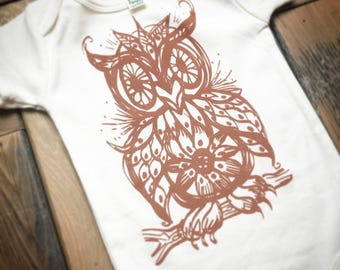 Owl Baby Clothes, Infant One Piece, Bodysuit, Babies, Shower Gift, Unisex, Organic Cotton, Handprinted, screech owl, greathorned, owlete