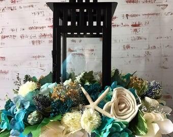 Lantern Centerpiece, Rustic Lantern Centerpiece, Rustic Wedding Centerpiece , Rustic Floral Centerpiece, Lantern Floral Arrangement