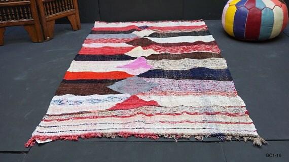 Boucherouite handwoven kilim 3x6 Handmade Vintage Kilim Berber Tribal art Morocco carpets wall art Moroccan Boucherouite Rug Handwoven rug