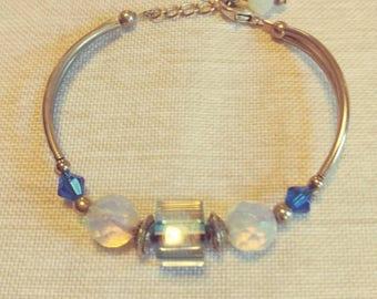 Silver Cane Glass Bracelet