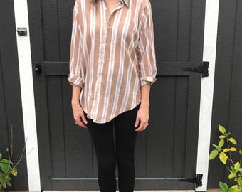 80's 90's Button Down Boyfriend Dress Shirt Striped