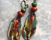 One can speak poetry by arranging colors well//Artisan Earrings in Enamel designed by Angela Gruenke of Contents Jewelry