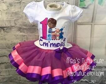 Doc Mcstuffins birthday tutu, doc mcstuffins tutu outfit, doc mcstuffins birthday, doc mcstuffins birthday outfit, pink and purple tutu.
