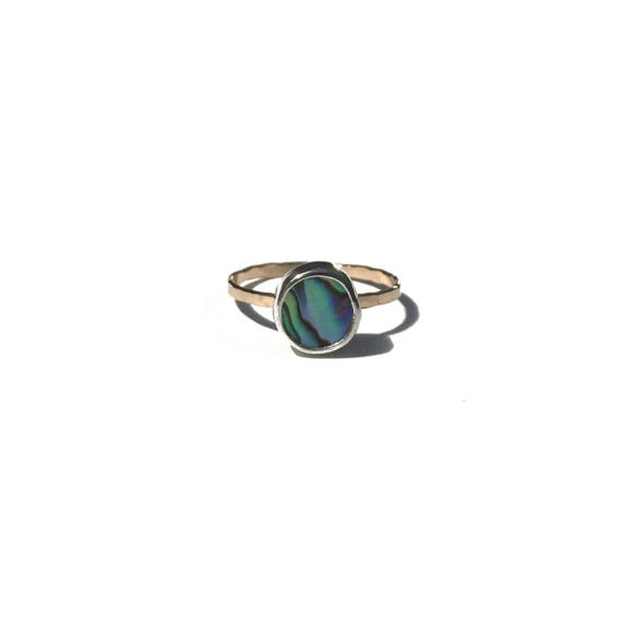 blue abalone stacking ring, size 8 1/4