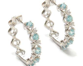 "Platinum o/ Silver 2.24ctw Blue Zircon Hoops Earring  1.00""L"