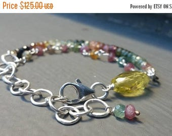 ON SALE Double Strand Tourmaline Sterling Silver Bracelet, Colorful Stacking Bracelet, High Quality Jewels   FREE Usa Shipping