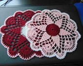 Star doilies in burgundy, white and light pink (2 doily set)