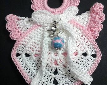 Crochet angel Christmas ornament-Orchid Pink