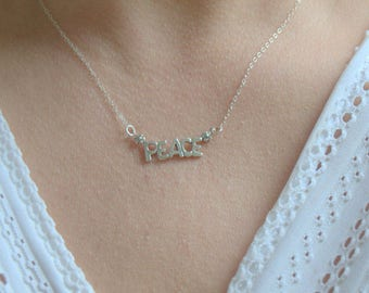 silver peace necklace, sterling silver everyday necklace, minimalist necklace, peace word necklace, letter peace necklace, boho necklace