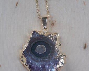 Amethyst Stalactite Necklace: amethyst stalactite slice, stalactite necklace, amethyst necklace, amethyst pendant, amethyst geode, amethyst