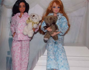 """1 Pair of Pajamas & a free Teddy Bear gift.  Pajamas are for 11.5"""" to 12"""" fashion dolls. (PJ's and Bear only, Barbie dolls are not included)"""