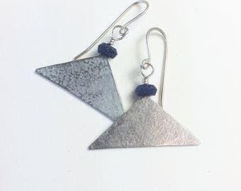 Lapis Lazuli and Silver Wide Triangle Earrings