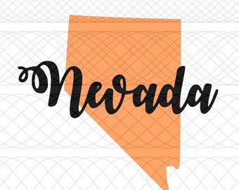 Nevada State Outline and Script Name SVG, PNG, and STUDIO3 Cut Files for Silhouette Cameo/Portrait and Cricut Explore DIY Craft Cutters