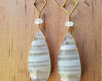 Crazy lace agate with moonstone on brass earrings