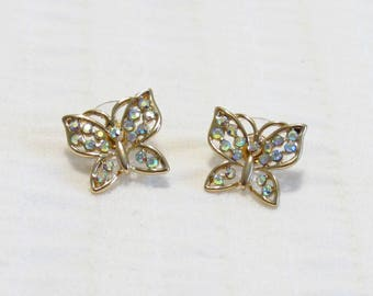 Rose Gold And AB Crystal Butterfly Vintage Stud Earrings - Brand New - Unused - Unworn - By Betsey Johnson - FREE SHIPPING.