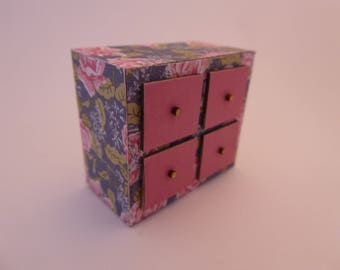 Handmade miniature trinket drawers for the modern 1/12th scale dolls house - pink/floral - shabby chic