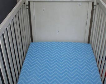 Baby Blue Embossed Chevron Minky Crib Sheet,  Baby, Toddler, Crib Bedding, Nursery