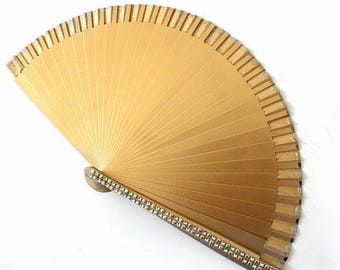 Hand Fans, hand fan, Abanico, fan in gold-silver painted with rhinestone