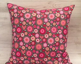 Valentines Day Pillow - Pink Pillow Cover - Pink and Gray - Pink and Grey - Valentines Day Decor - Pink Floral Pillow - Pink Throw Pillow