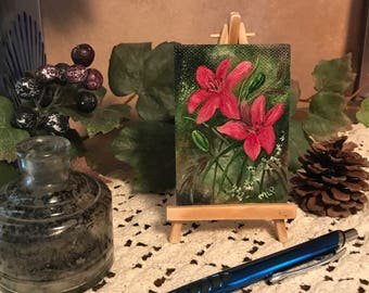 Red Lilies, ACEO, Artist Trading Cards, Miniature Original Oil Painting 2.5'' x 3.5''