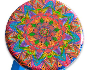 Ready to Ship-Hand painted Wood Stool-Colorful Mandala Design-Home Decor-Kids Size