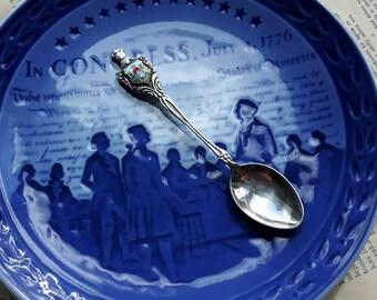 Vintage Germany Souvenir Spoon,Sugar Spoon,Enamel Silver Plated Spoon,Women on the field