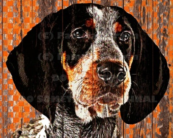 Smokey the bluetick hound print on canvas: Rustic Tennessee Vols print with Smokey, UT decor, Tennessee rustic wood decor, Tennessee art, UT