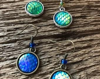 Mahi Mahi or Sailfish earrings: bull dolphin skin earrings or sailfish earrings, offshore fishing, fish scale earrings, dorado earrings