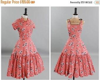ON SALE Vintage original 1950s 50s pretty coral orange pink Horrockses cotton dress and matching bolero UK 8 Us 4 Xs S