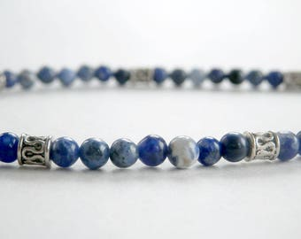Blue Gemstone Bracelet - Sodalite Bracelet - Blue and White Stone Bracelet - Dainty Bracelet - Girls Size - Plus Size - Tiny Bead Bracelet