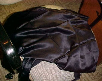 Vintage Black Satin Fabric reverse is  black silk. Reverse has stain AS IS   #2289