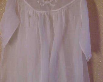 "Antique Infants/Doll White Sheer Cotton Dress embroidered in White.  26"" Long #3224"