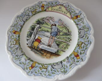Winnie the Pooh vintage 1980's Pooh Sticks plate, Childs keepsake, AA Milne, Winnie the Pooh collection, Pooh bear plate, Christopher Robin
