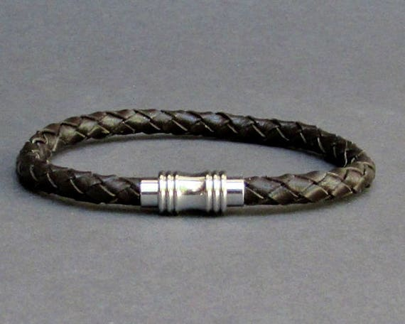 Mens Braided, Leather Bracelet Titanium Stainless Steel Mens Leather bracelet Cuff Gift For Men Customized On Your Wrist