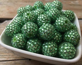 20mm Green Rhinestone Chunky Bead, Christmas Bubblegum Bead, Acrylic Bead, DIY Chunky Necklace, 10 Count