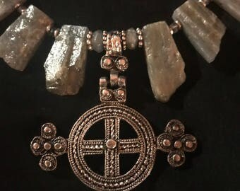 Labradorite plates with silver Coptic Eternity Cross