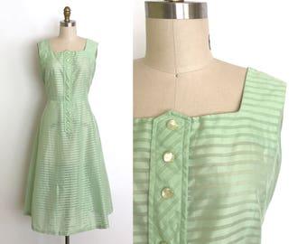 vintage 1940s dress | 40s mint semi sheer stripe dress