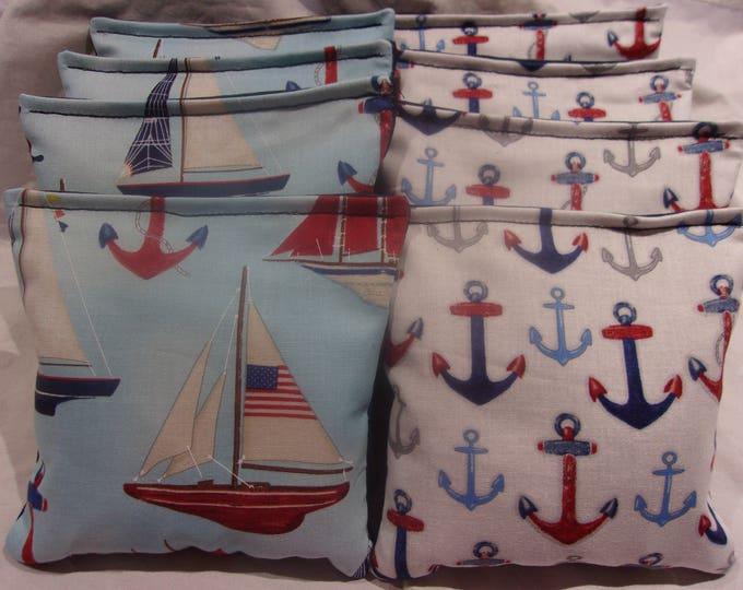 8 ACA Regulation Cornhole Bags - Sailboats & Anchors Ocean Theme Nautical