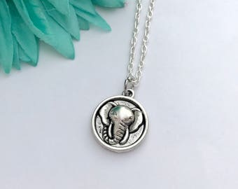 Elephant necklace -  elephant head with chain necklace - fun necklace - silver necklace with lobster clasp - great gift - comes wrapped