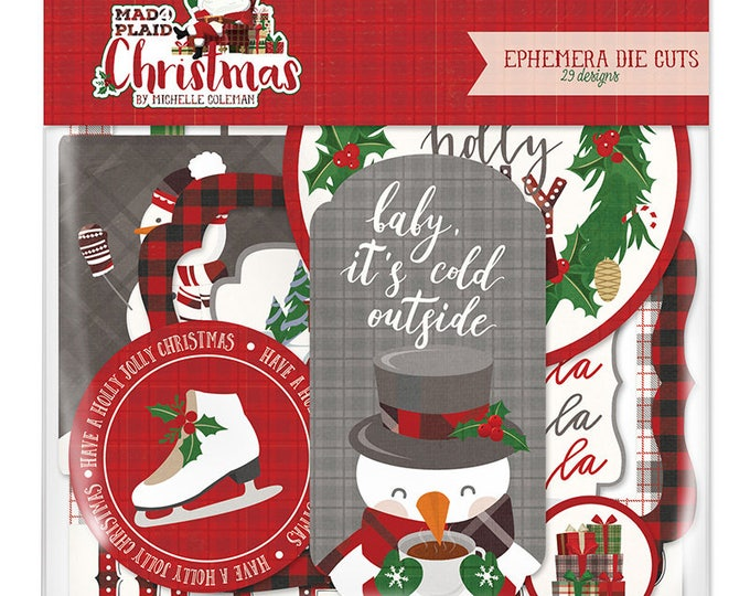 New! Photo Play MAD 4 PLAID CHRISTMAS Holiday Scrapbook Ephemera Pack
