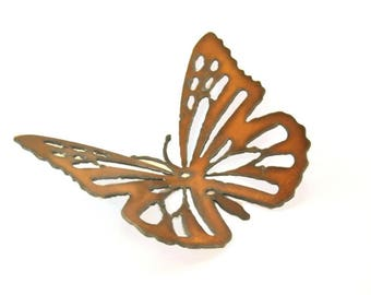 Butterfly Origami Folded Rusted Metal Figurine