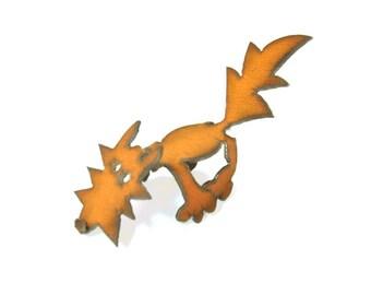 Fox Origami Folded Rusted Metal Figurine