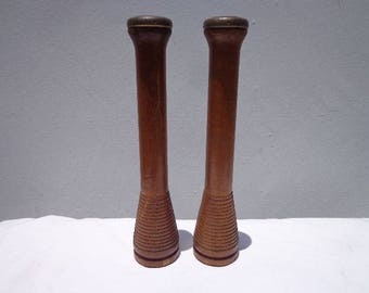 Pair of Antique Wood Knitting Weaving Spools Bobbin Mid Century Modern Candle Holders Candlestick Decor Bohemian Boho Chic Rustic Rusty Gold