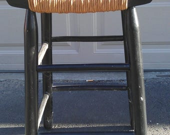 Bar Stool Rush Seat Wood Drafting Art Dining Chair Wood Boho Chic Vintage Seating Mid Century Modern Vintage Furniture MCM Le Corbusier