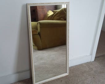 Vintage Painted Shabby Chic Mirror White and Gilt.