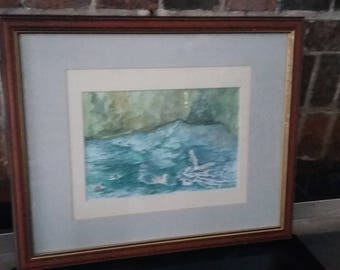 Large Original Watercolour Painting Picture Ducks and Birds in Choppy Sea Ruth Fowke