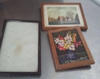 3 Vintage Frames 2 Glazed Photo Picture